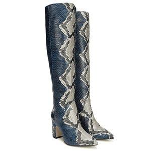 Sam Edelman Hai High Blue Leather Snake Boots